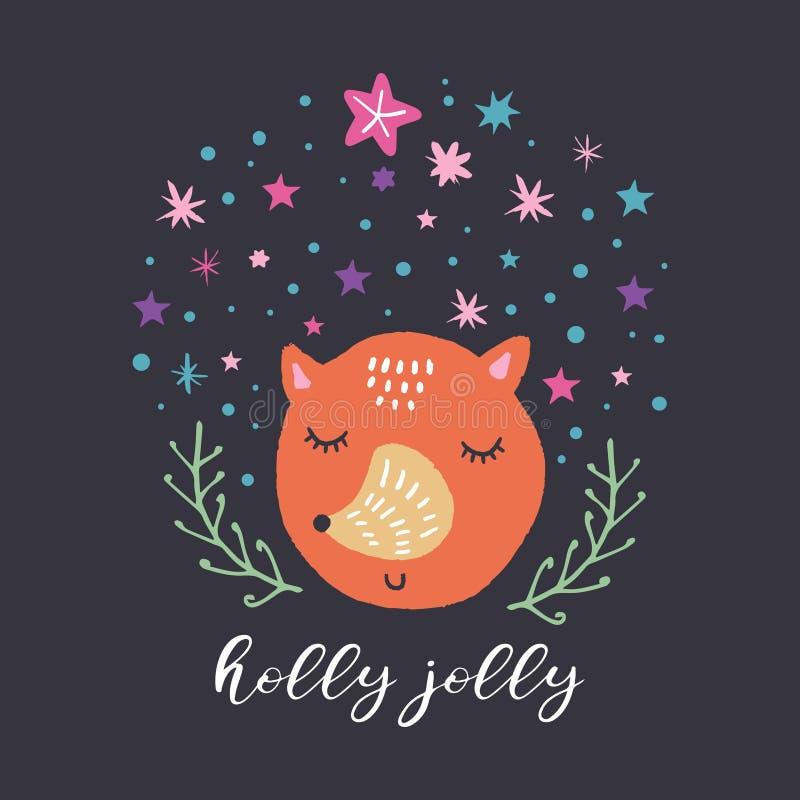 Vector leuke geplaatst vosgezicht en sterren De prentbriefkaar van Kerstmis De illustratie van de kinderdagverblijfvakantie royalty-vrije illustratie