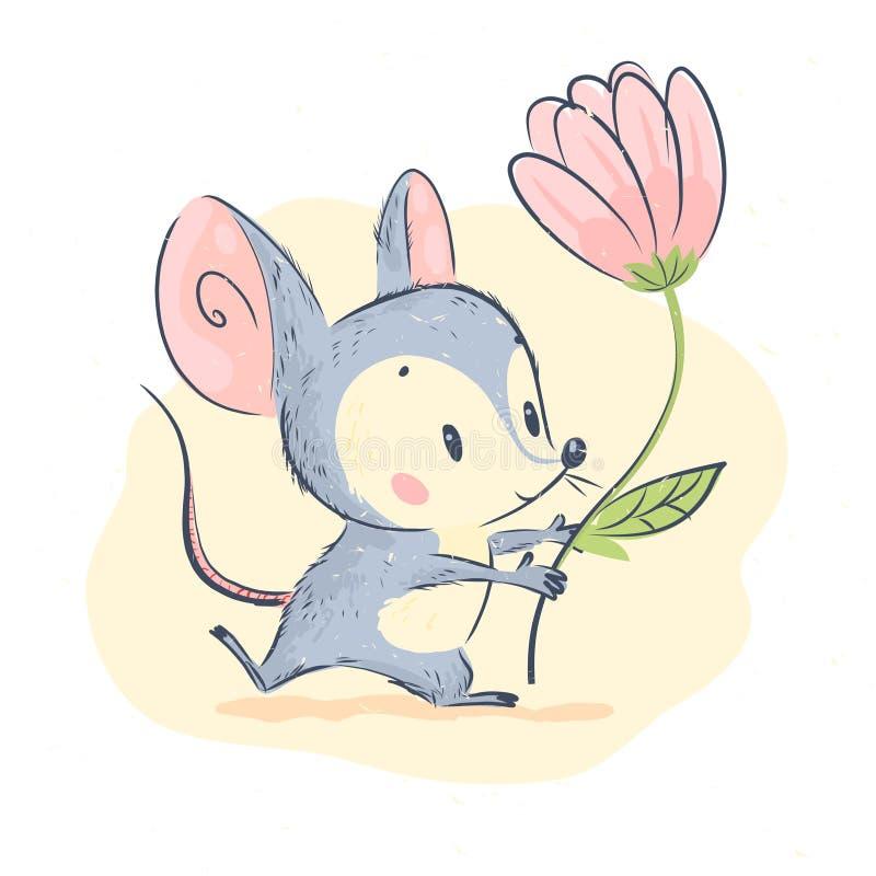 Vector leuke illustratie van weinig grijze van de de greep grote roze die tulp van het muiskarakter de bloemtribune op witte acht royalty-vrije illustratie