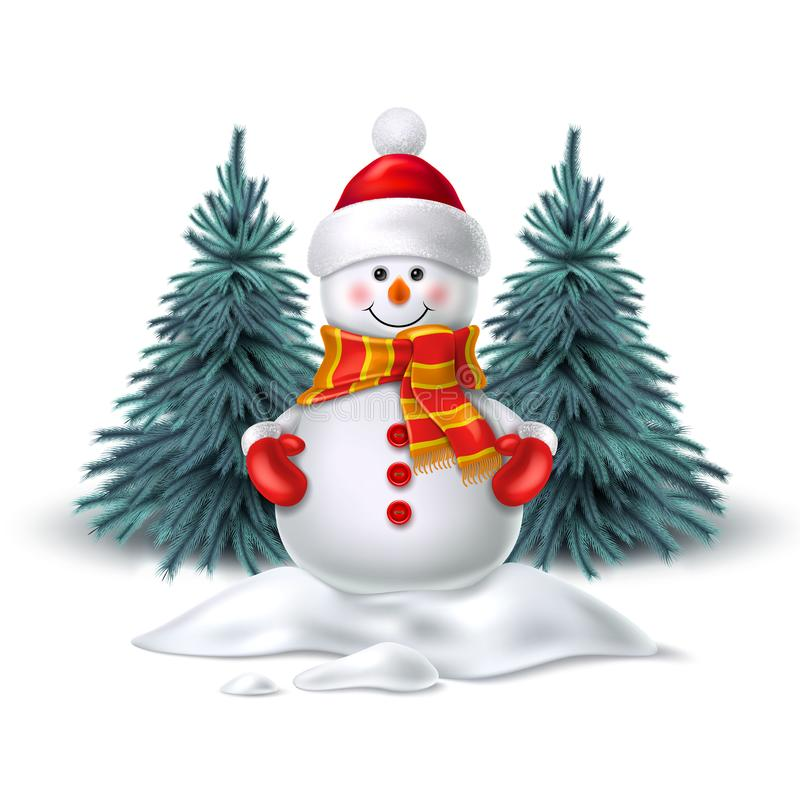 Vector leuke realistische sneeuwman in de hoed van de vuisthandschoenensjaal royalty-vrije illustratie