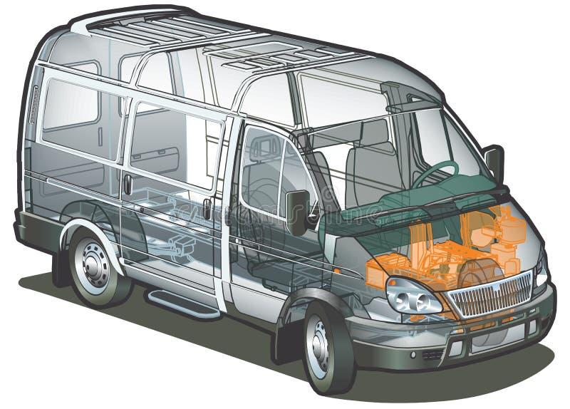Vector levering/cargo van infographics schema royalty-vrije illustratie