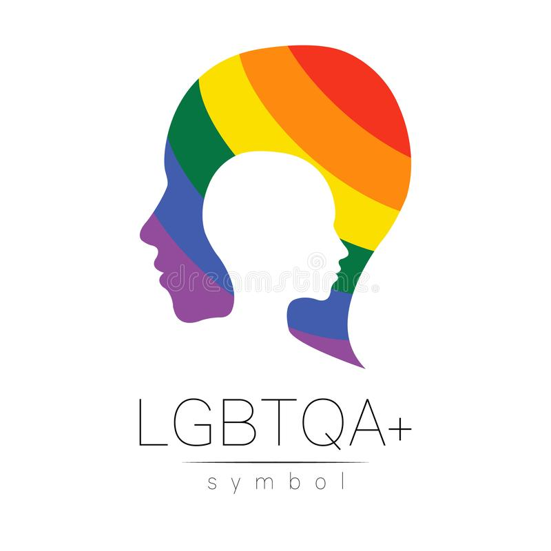Vector LGBTQA symbol. Pride flag background. Icon for gay, lesbian, bisexual, transsexual, queer and allies person. Can. Be use for sign activism, psychology or vector illustration