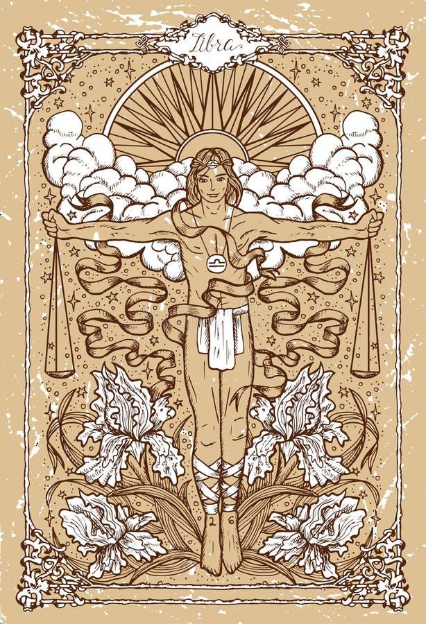 Vector a Libra do sinal do zodíaco da fantasia no quadro gótico na textura ilustração royalty free