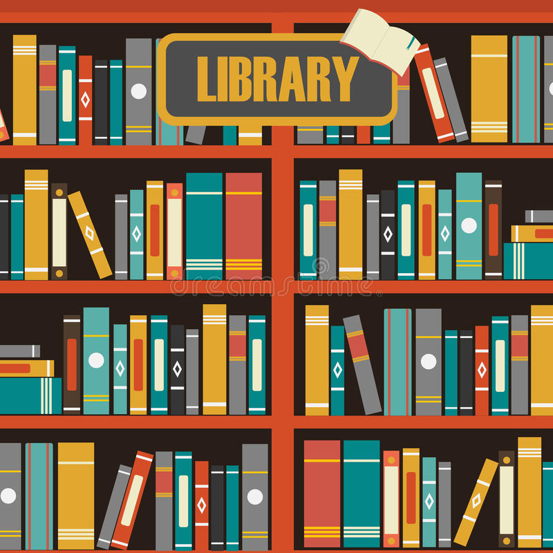 Download Vector Of Library Book Shelf Stock