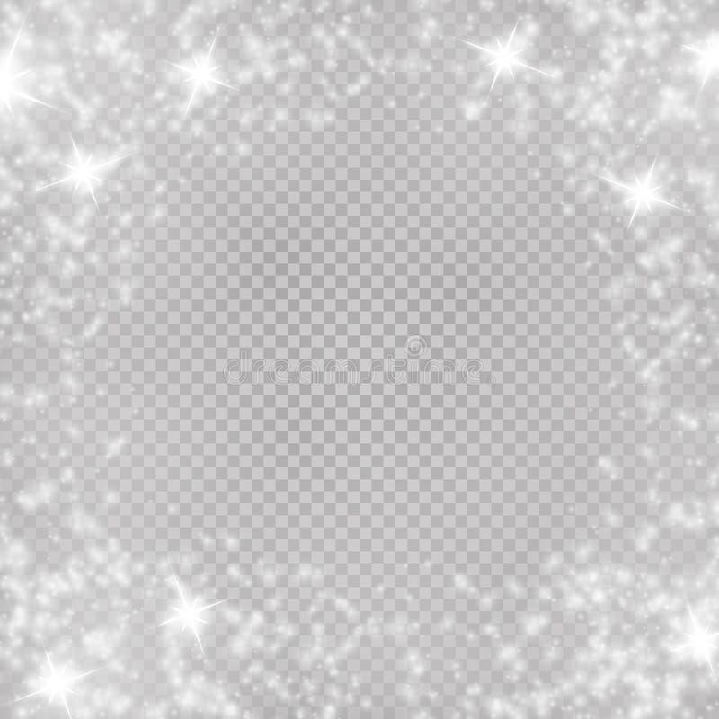 Vector licht gloedkader Kerstmistak en klokken Licht speciaal effect met magische fonkelingen stock illustratie