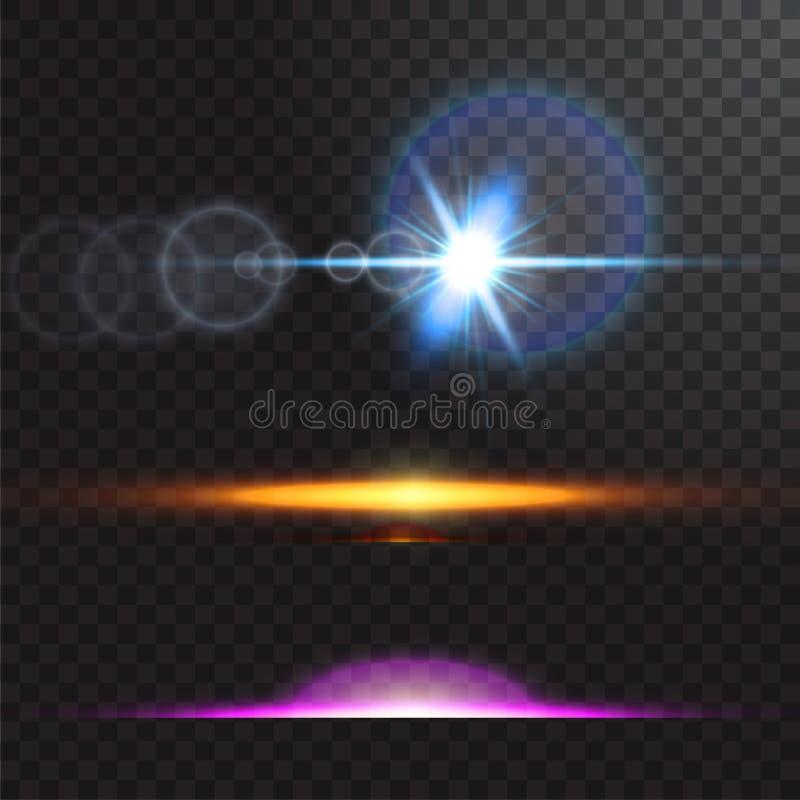 Vector lichtbronnen, overlegverlichting, geplaatste stadiumschijnwerpers Overlegschijnwerper met straal, verlichte schijnwerpers  vector illustratie