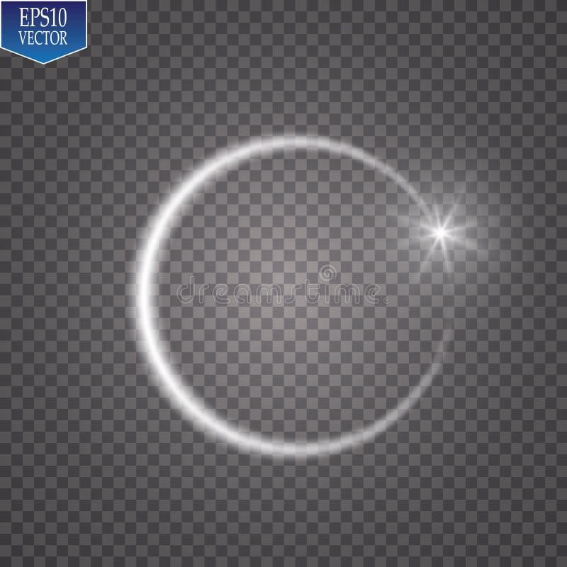 Vector lichte ring Rond glanzend die kader met de sleepdeeltjes van het lichtenstof op transparante achtergrond wordt geïsoleerd  stock illustratie