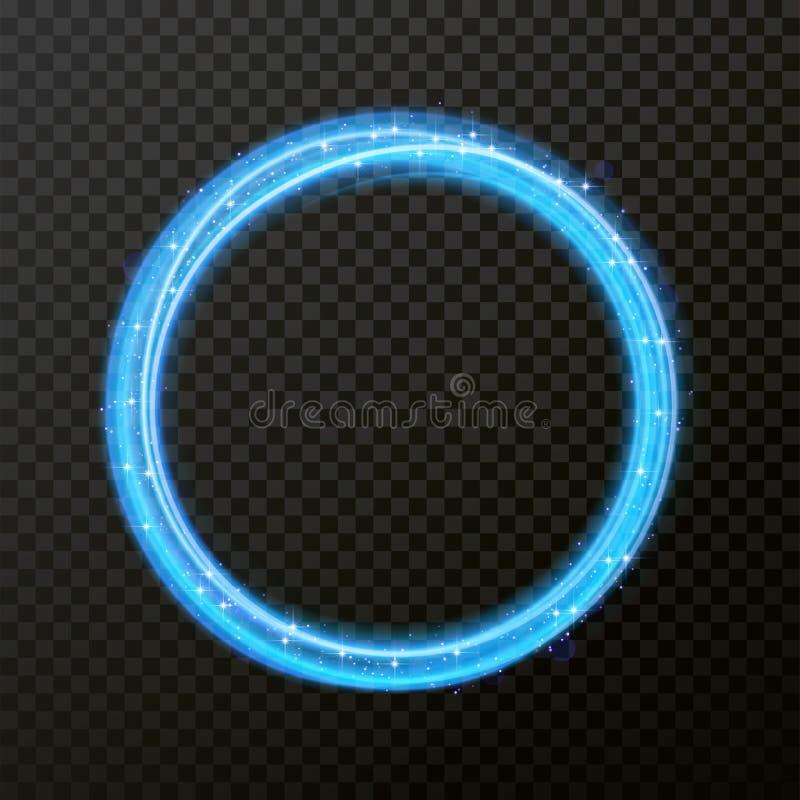 Vector lichteffect van het neon van de cirkellijn Het gloeiende lichte spoor van de brandgloed stock illustratie