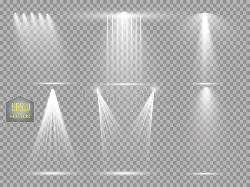 Vector Lichtquellen, Konzertbeleuchtung, die eingestellten Stadiumsscheinwerfer Beraten Sie sich üb Scheinwerfer mit Strahl, beli stock abbildung