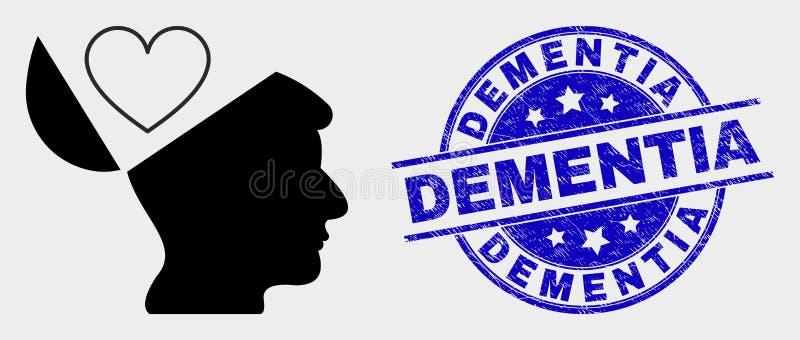 Vector liebt Open-Mind-Symbol und Notfall Demenz-Stempel lizenzfreie abbildung