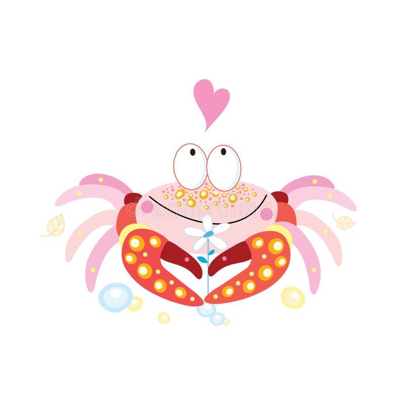 Vector in liefde grappige krab op een witte achtergrond stock illustratie