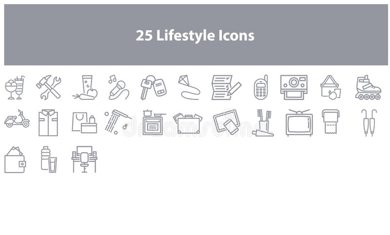 Gray Online marketing icon set. Vector lifestyle icons  set in the gray color for apps and websites stock illustration
