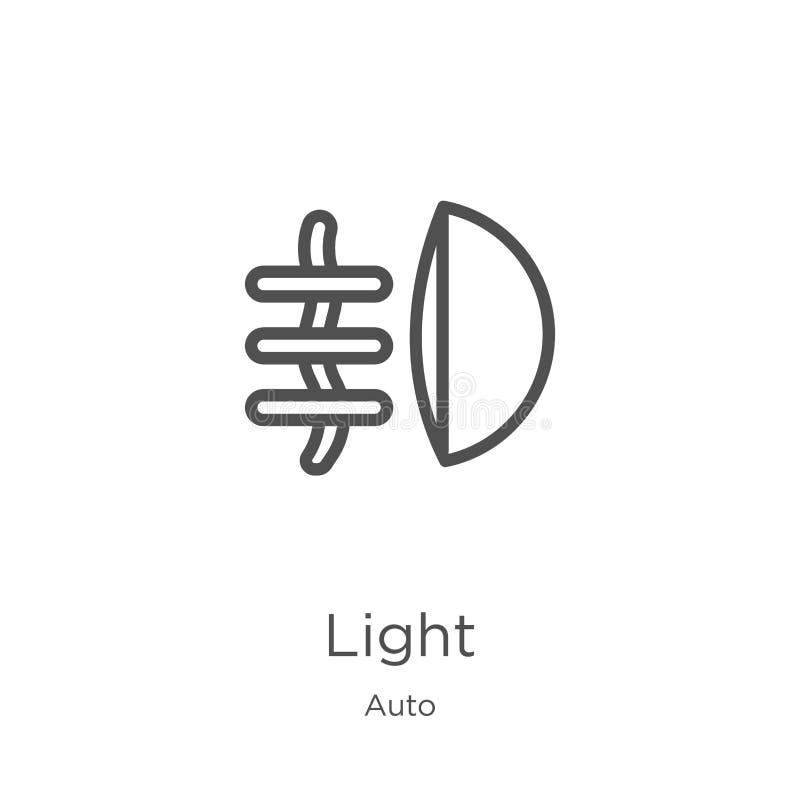 vector ligero del icono de la colecci?n auto L?nea fina ejemplo del vector del icono del esquema de la luz Esquema, l?nea fina ic ilustración del vector