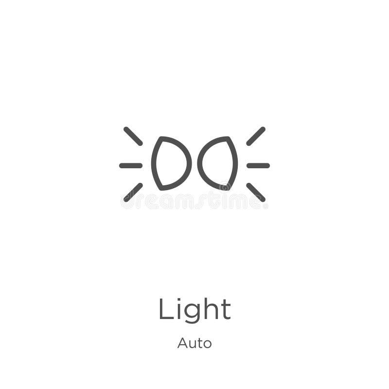 vector ligero del icono de la colecci?n auto L?nea fina ejemplo del vector del icono del esquema de la luz Esquema, l?nea fina ic stock de ilustración