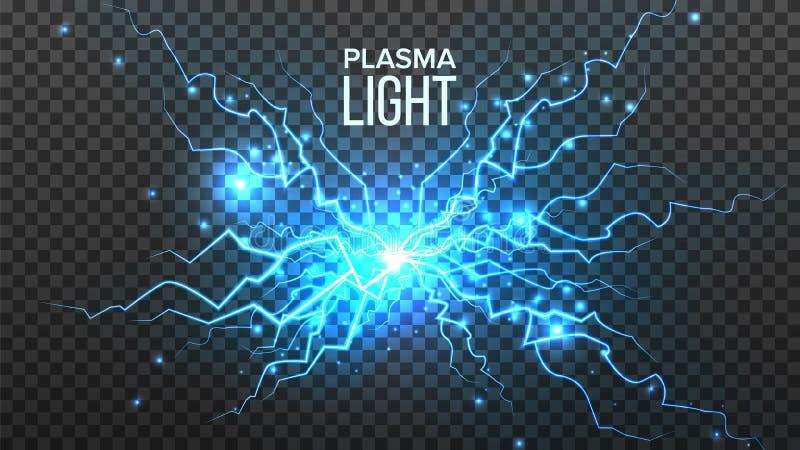 Vector ligero del plasma Energía eléctrica Efecto de la energía Perno azul de la chispa Ejemplo transparente aislado realista ilustración del vector