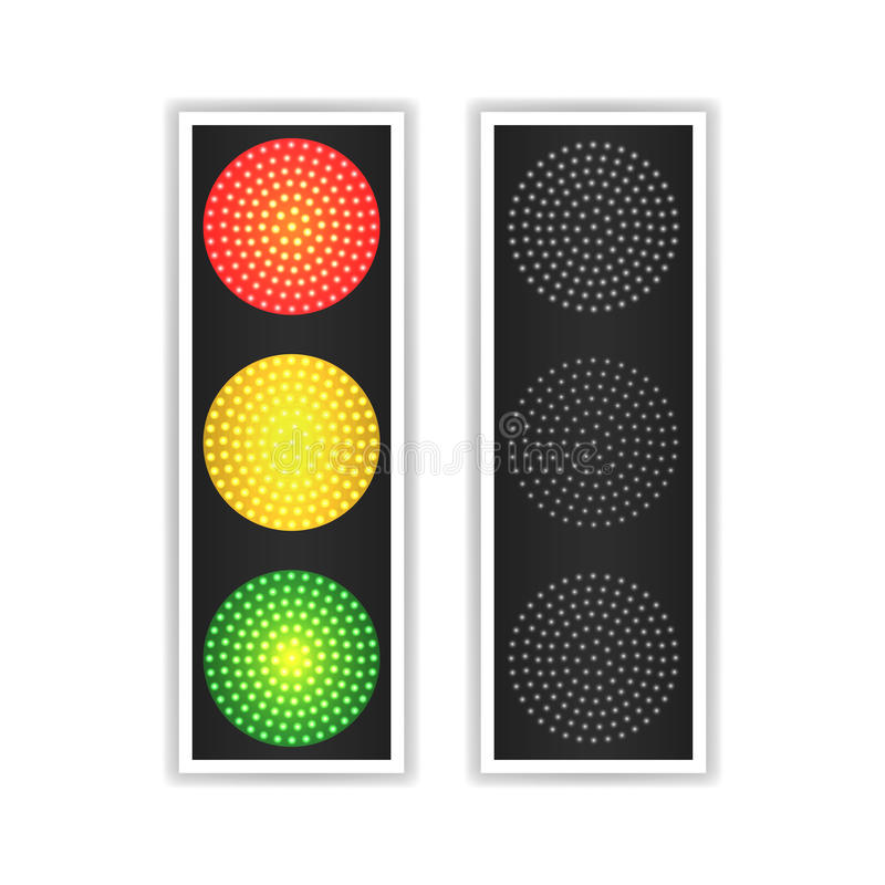 Vector ligero del tráfico por carretera El panel realista del LED La secuencia enciende rojo, amarillo, verde Van, esperan, las s libre illustration