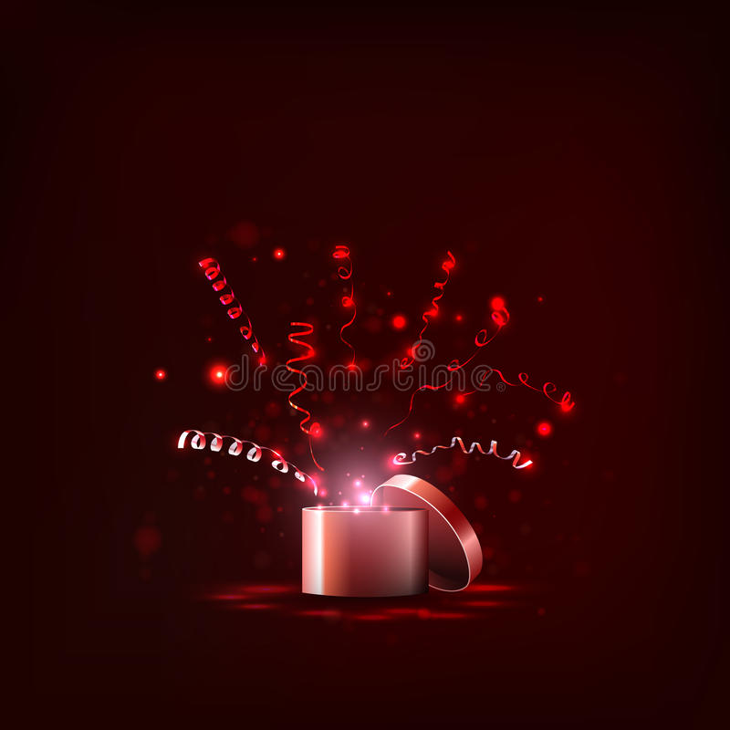 Vector, light box and streamers, gift for the holiday royalty free stock photos