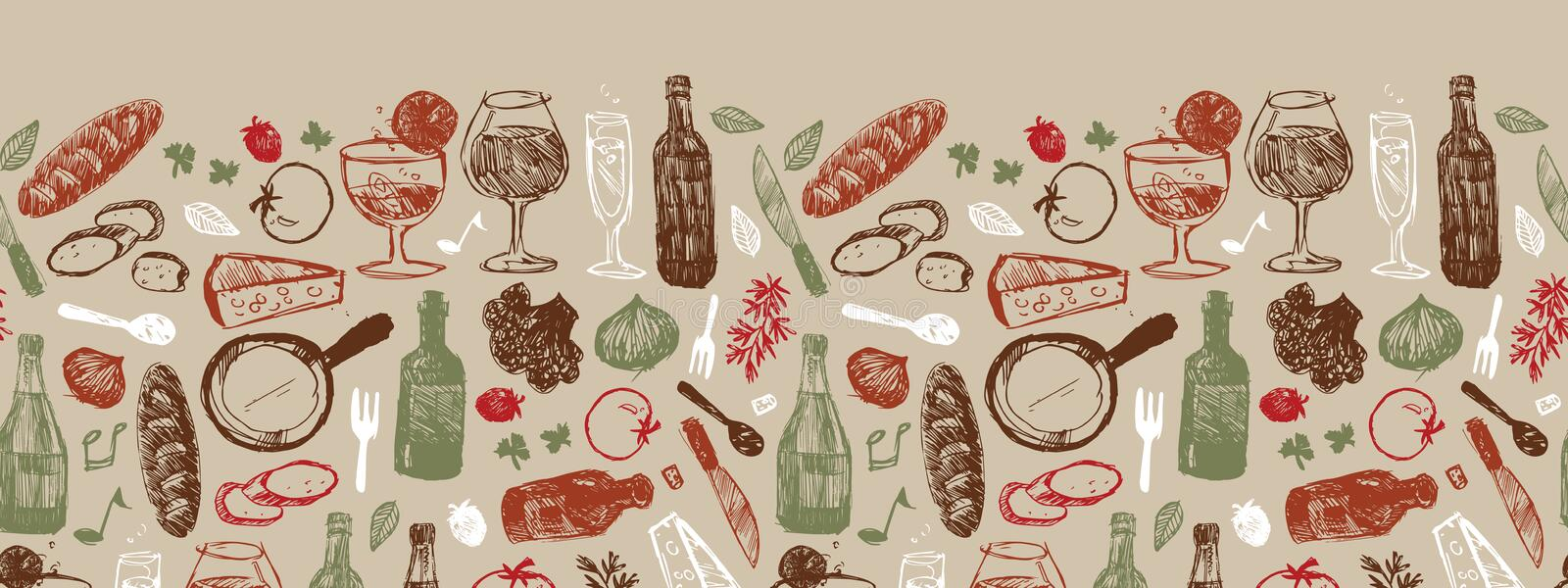 Vector light brown bar italia sketch illustration horizontal border pattern with bottles, wine glasses, bread, tomatoes vector illustration