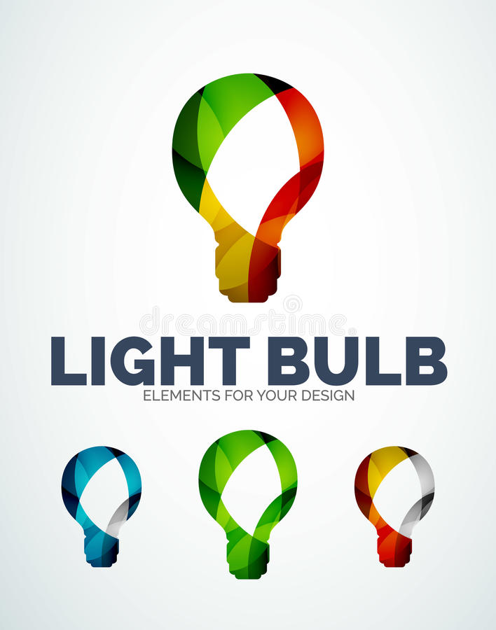 Vector light bulb abstract symbols, new idea concept. Vector light bulb abstract icons, new idea concept created with overlapping waves royalty free illustration