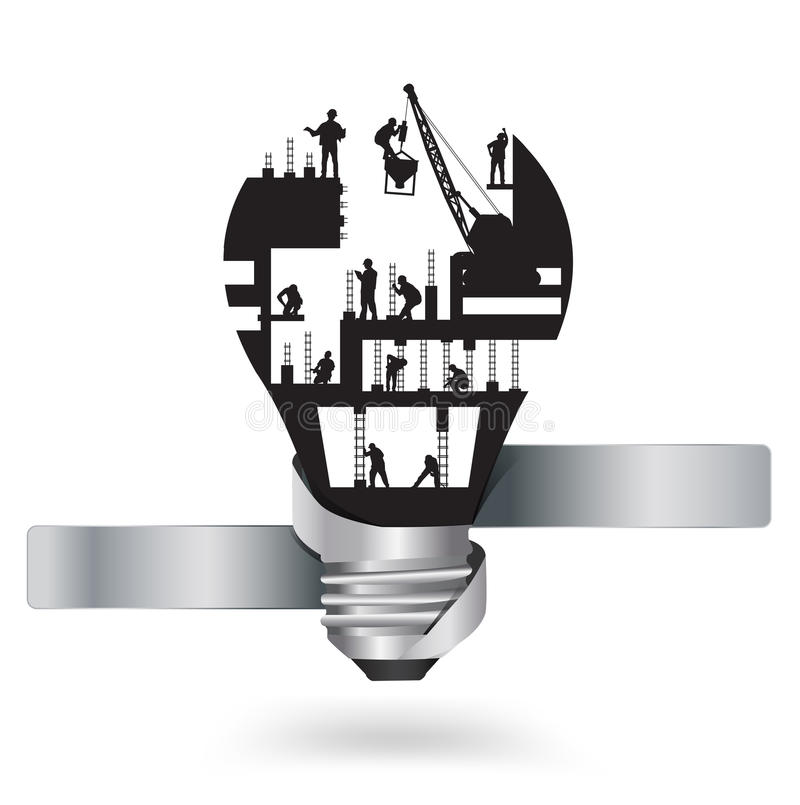 Vector light bulb with construction worker idea stock illustration