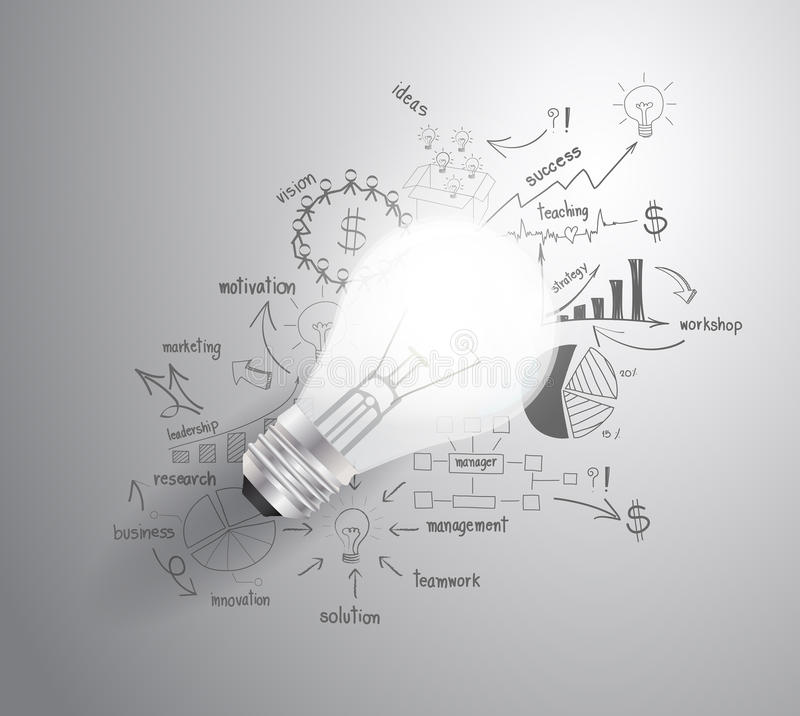 Vector light bulb with drawing business success st stock illustration