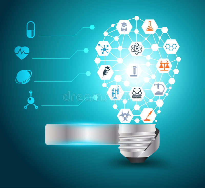 Free Vector Light Bulb Idea With Chemistry And Science Stock Photography - 34512792