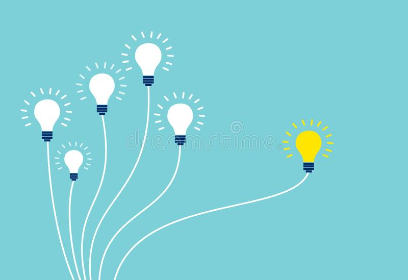 Vector of light bulbs on blue background royalty free illustration