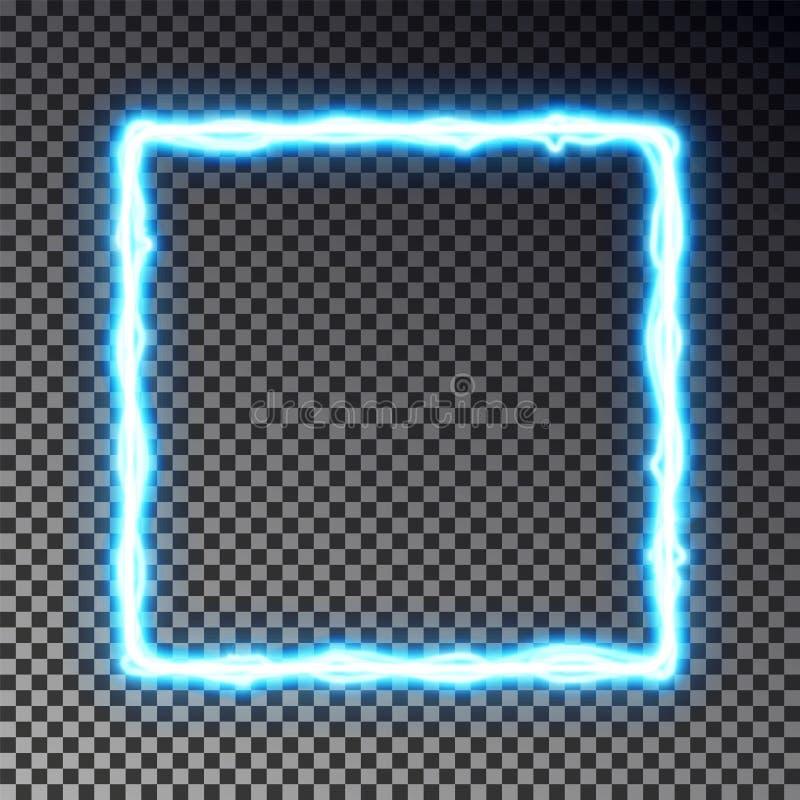 Vector light frame banner isolated on dark background. Shine border in lightning style, transparent effect. Light magic rectangle stock illustration