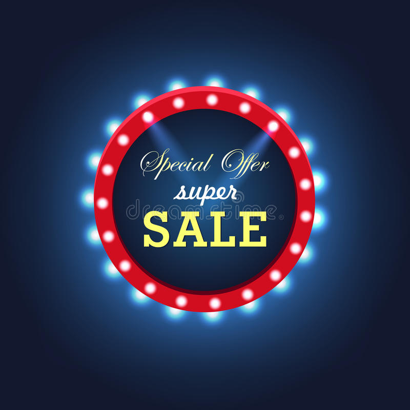 Vector light frame. Retro billboard. Hot deal. Sale and discount, business banner. vector illustration