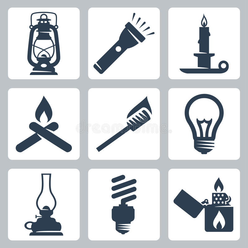 Vector Light And Lighting Appliances Icons Set Stock Vector