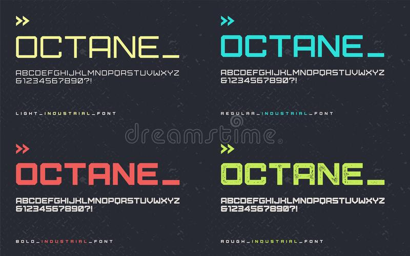 Vector light regular bold and rough industrial style display font, blocky typeface, futuristic uppercase letters and numbers, alp. Habet. Global swatches royalty free illustration