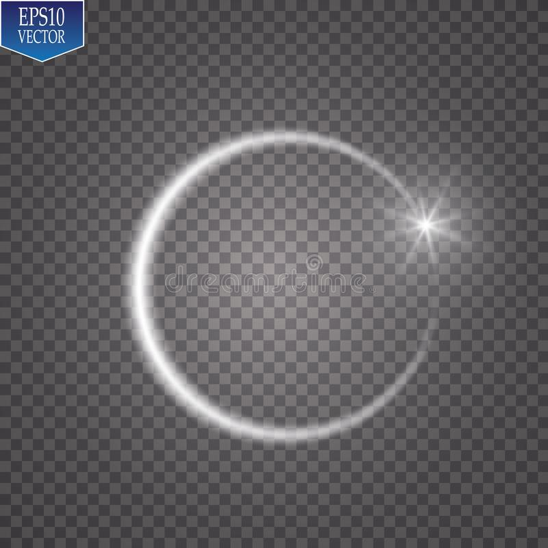 Vector light ring. Round shiny frame with lights dust trail particles isolated on transparent background. Magic concept stock illustration