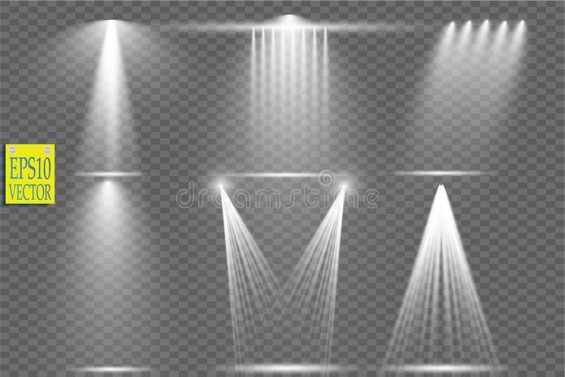 Vector light sources, concert lighting, stage spotlights set. Concert spotlight with beam, illuminated spotlights for vector illustration