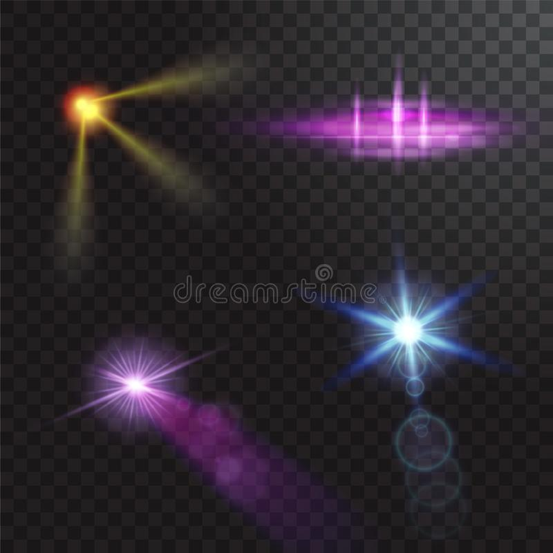 Vector light sources, concert lighting, stage spotlights set. Concert spotlight with beam, illuminated spotlights for royalty free illustration
