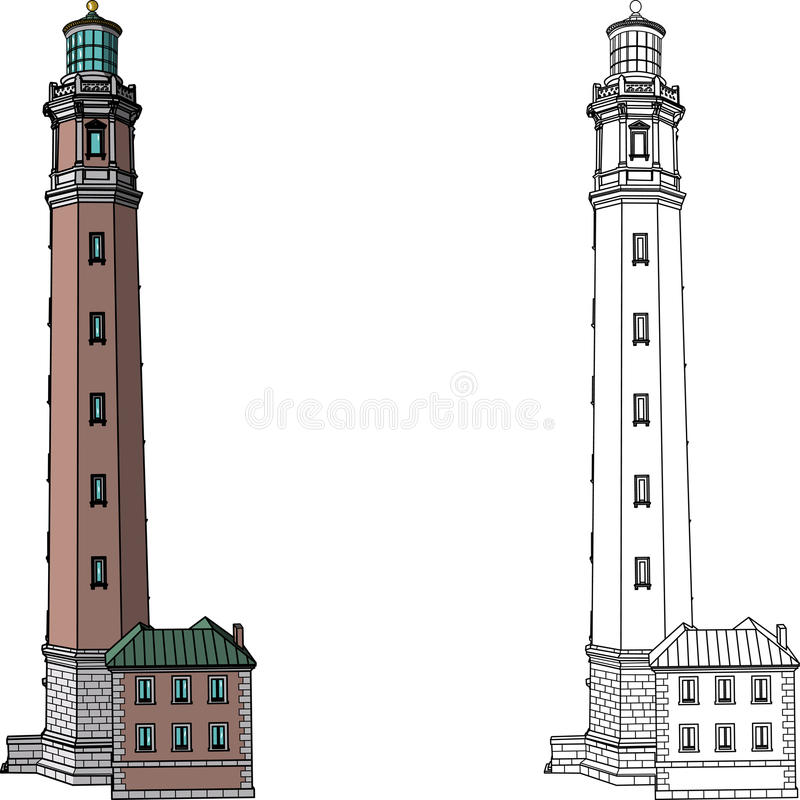 Vector Lighthouse Isolated On White Background Stock Vector