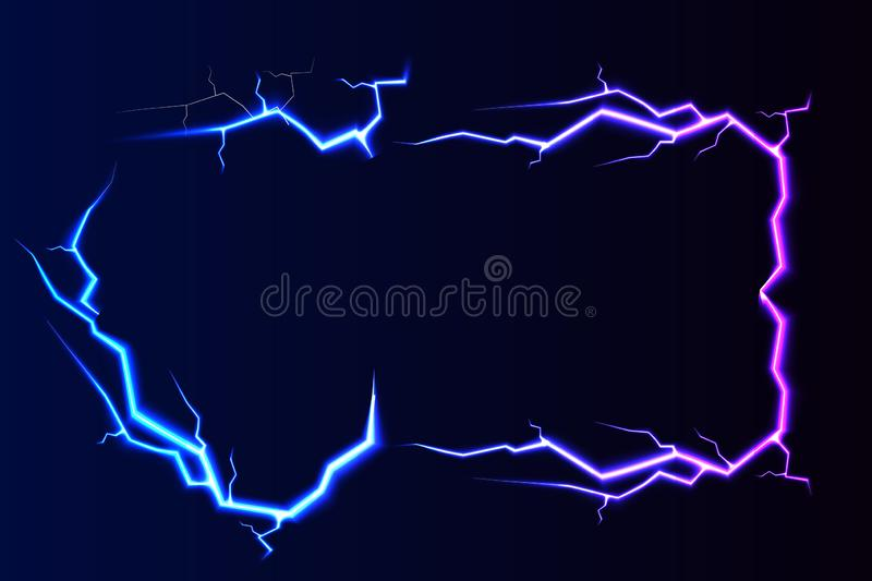Vector lightning - isolated on blue background, luminous light effects banner with place for text. Vector lightning - isolated on blue background, luminous stock illustration
