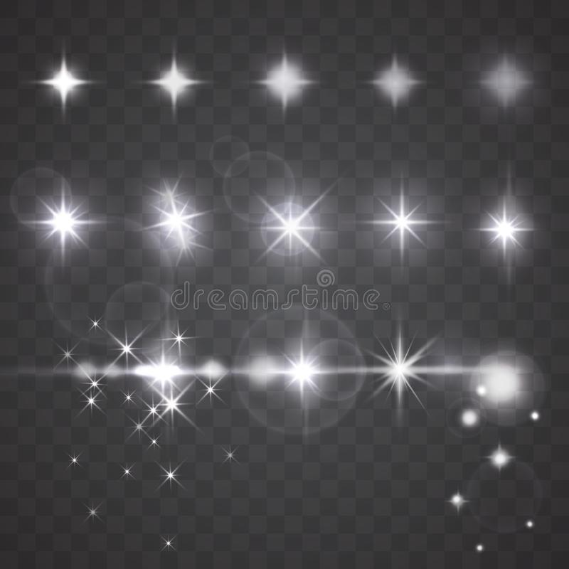 Vector lights, stars or camera lens effects on dark background. Vector lights, stars or twinkles with camera lens effects. Set of flash light, flare, glowing royalty free illustration