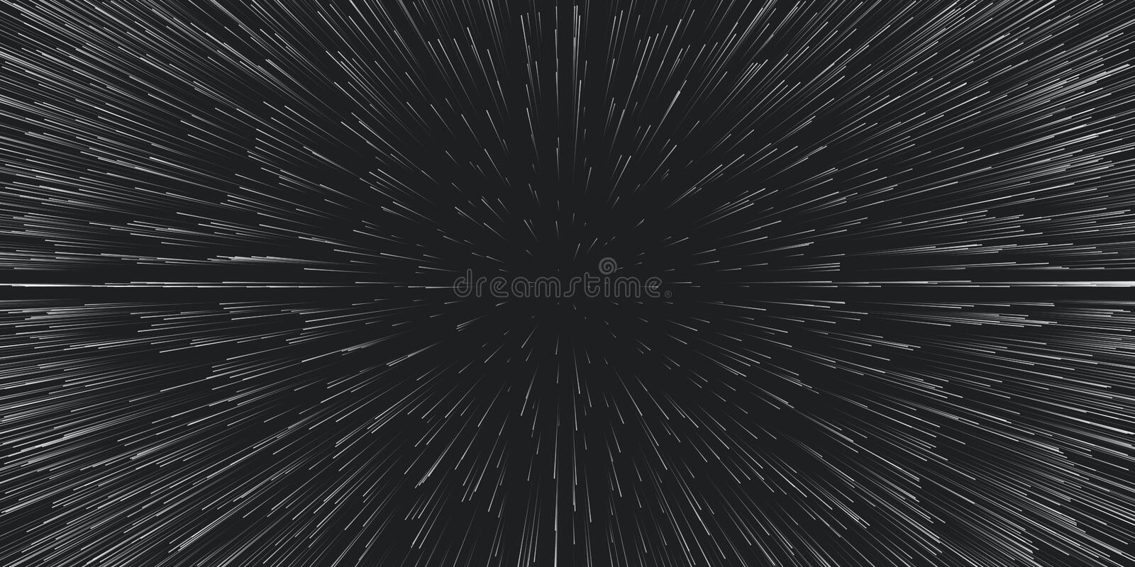 Vector lightspeed travel background. Centric motion of star trails. Light of galaxies blurred into rays or lines under. High speed of motion. Burst, explosion vector illustration