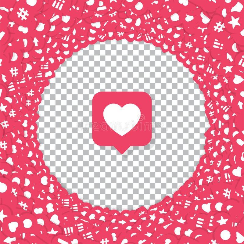 Vector like Counter Icons in Abstrakter Form Hintergrund für Social Network auf transparentem Hintergrund Bewertungsmaßstäbliche  lizenzfreie abbildung