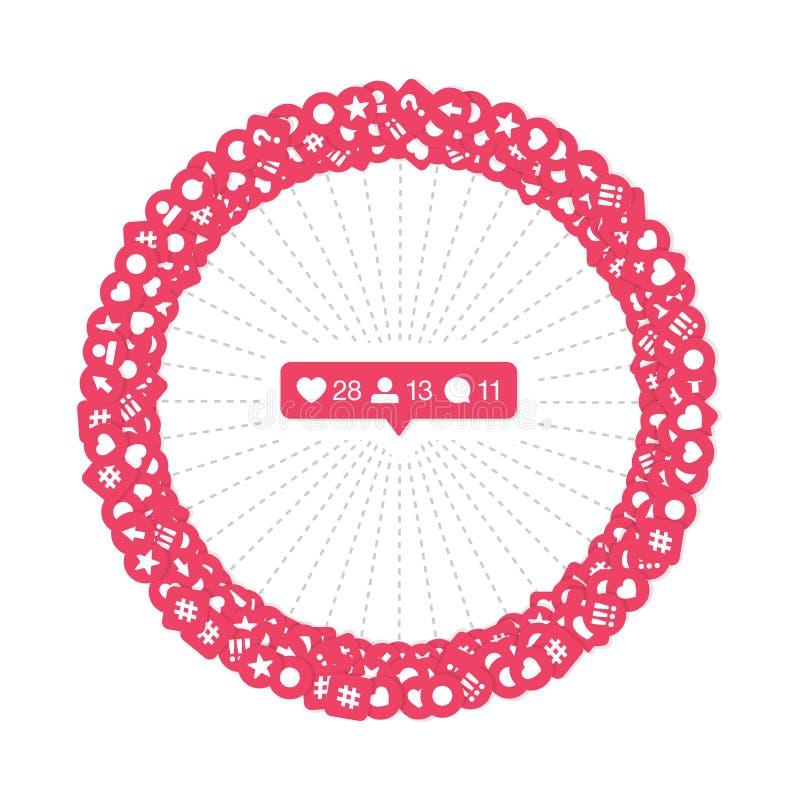 Vector like Counter Icons in Abstrakter Form Hintergrund für Social Network auf transparentem Hintergrund Bewertungsmaßstäbliche  stock abbildung