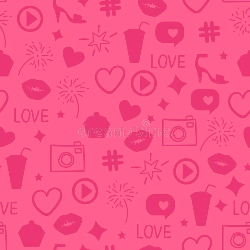 Free Vector Like Girly Pattern. Abstract Pink Icon Texture Seamless Design Surface Background. Kiss, Like, Heart, Camera, Beauty Party. Royalty Free Stock Photo - 134534675