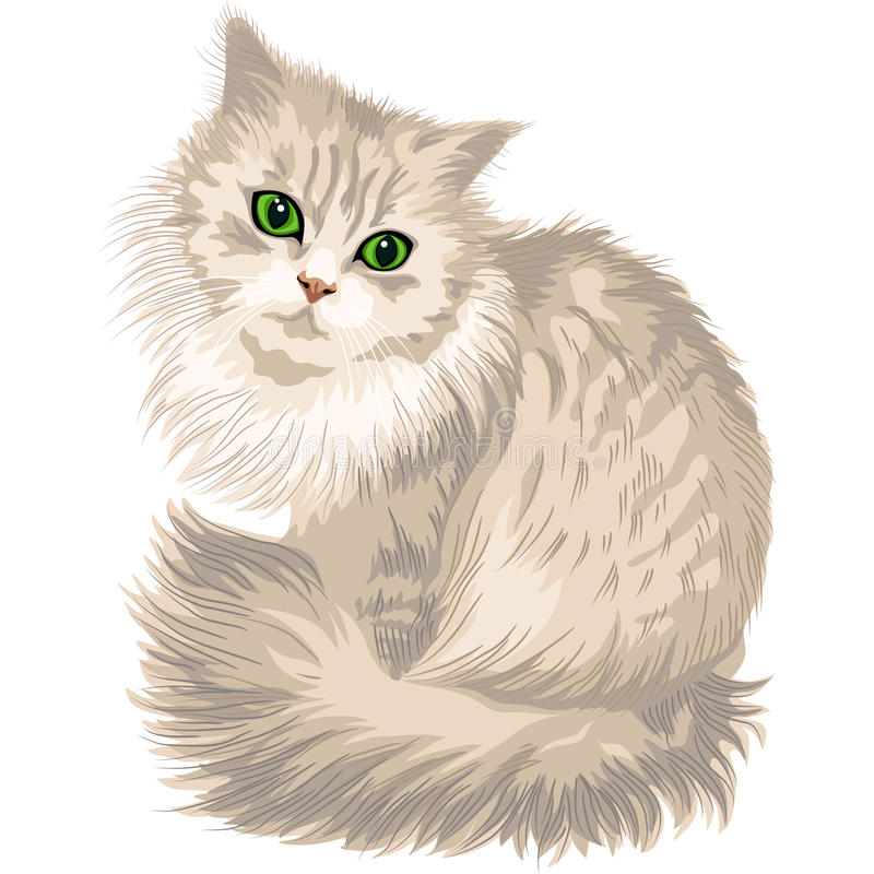 Vector lilac fluffy cute cat with green eyes royalty free stock photography