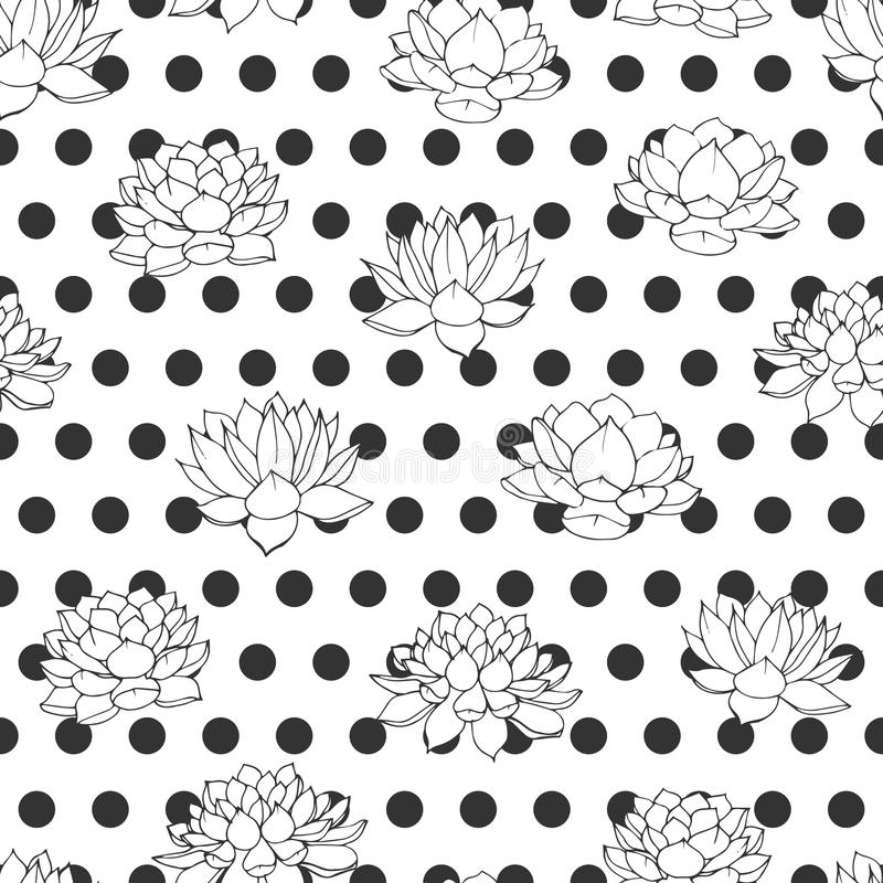 Vector lilies contours with black polka dot seamless pattern on white background. Retro floral design. stock illustration