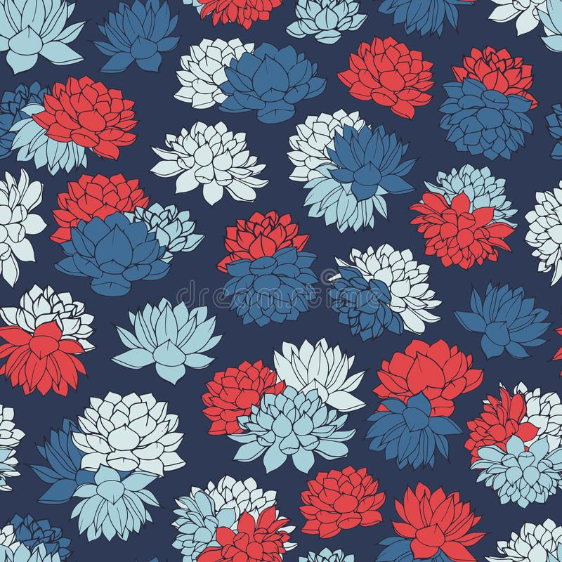 Vector lilies seamless pattern in white, red and blue colors on dark navy background. Vintage floral design. vector illustration