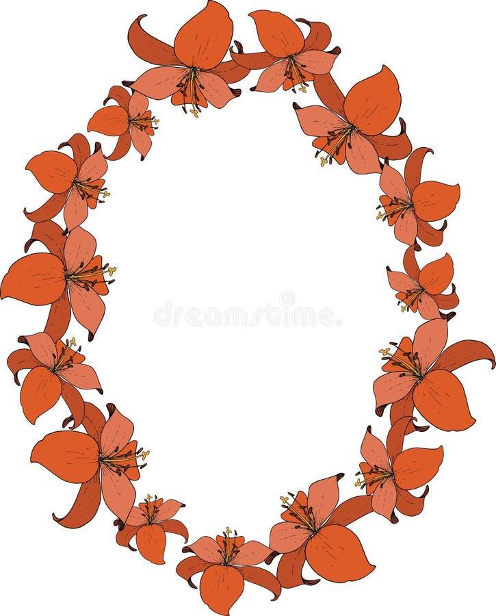 Vector Lily botanical flower. Wild spring leaf wildflower isolated. Engraved ink art. Frame border ornament square. Vector Lily floral botanical flower. Wild stock illustration