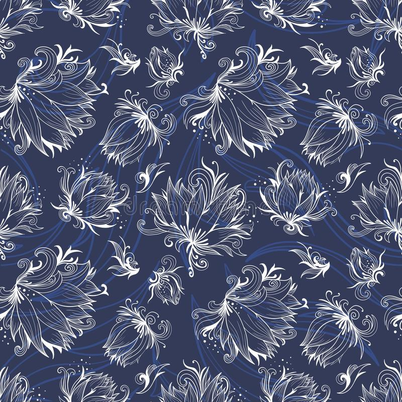 Vector Lily Outline Pattern royalty free illustration