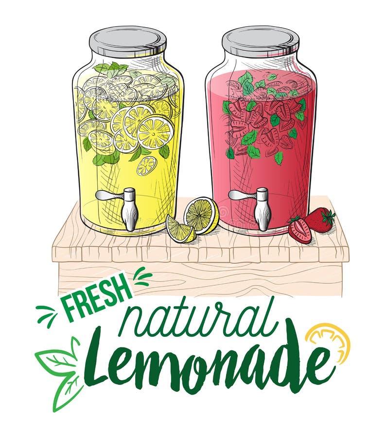 Vector a limonada em casa feita com morango e fatia de limão ilustração do vetor