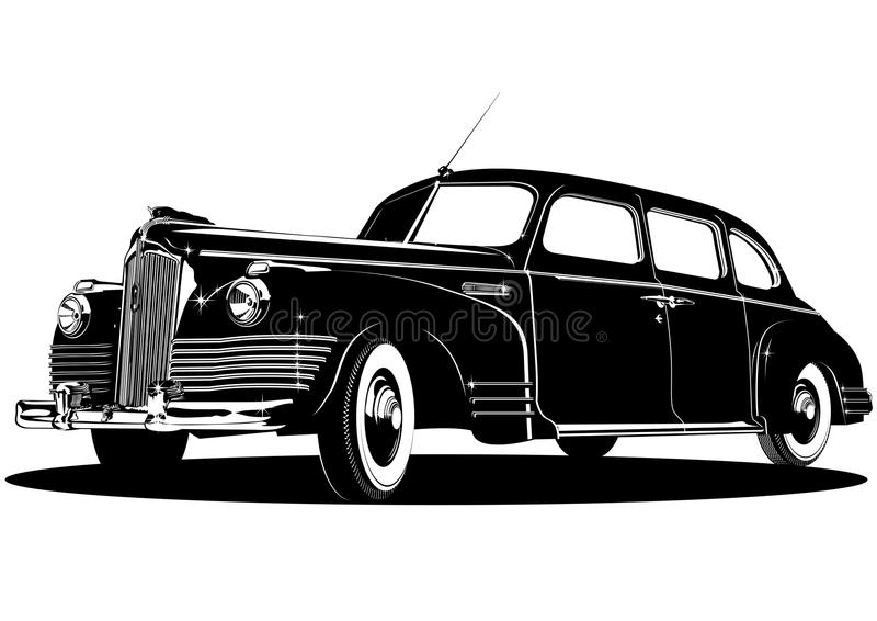 Vector limousine silhouette royalty free stock photos