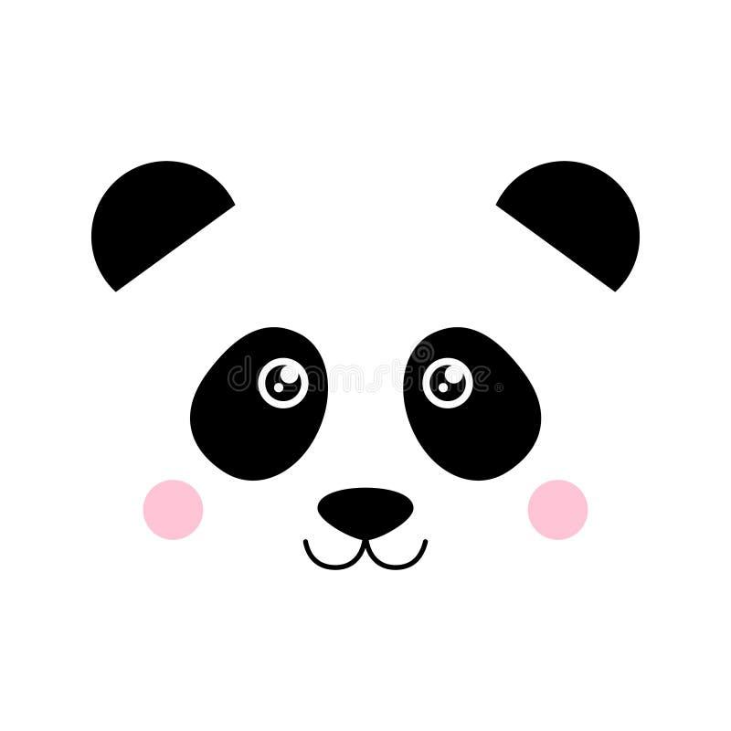 Vector lindo de la cara del oso de panda stock de ilustración