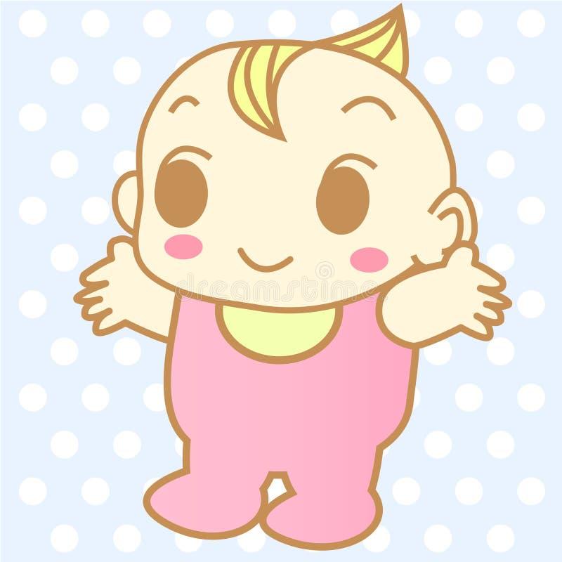 Vector lindo de la historieta del bebé foto de archivo