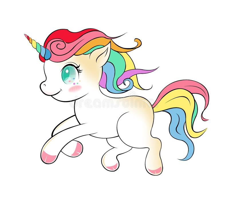 Vector lindo de la historieta del unicornio, dibujo mágico del unicornio aislado ilustración del vector